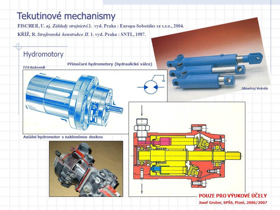 Tekutinové mechanismy Hydromotory Axiální hydromotor s nakloněnou deskou POUZE PRO VÝUKOVÉ ÚČELY Josef Gruber, SPŠS, Plzeň, 2006/2007 Přímočaré hydrom