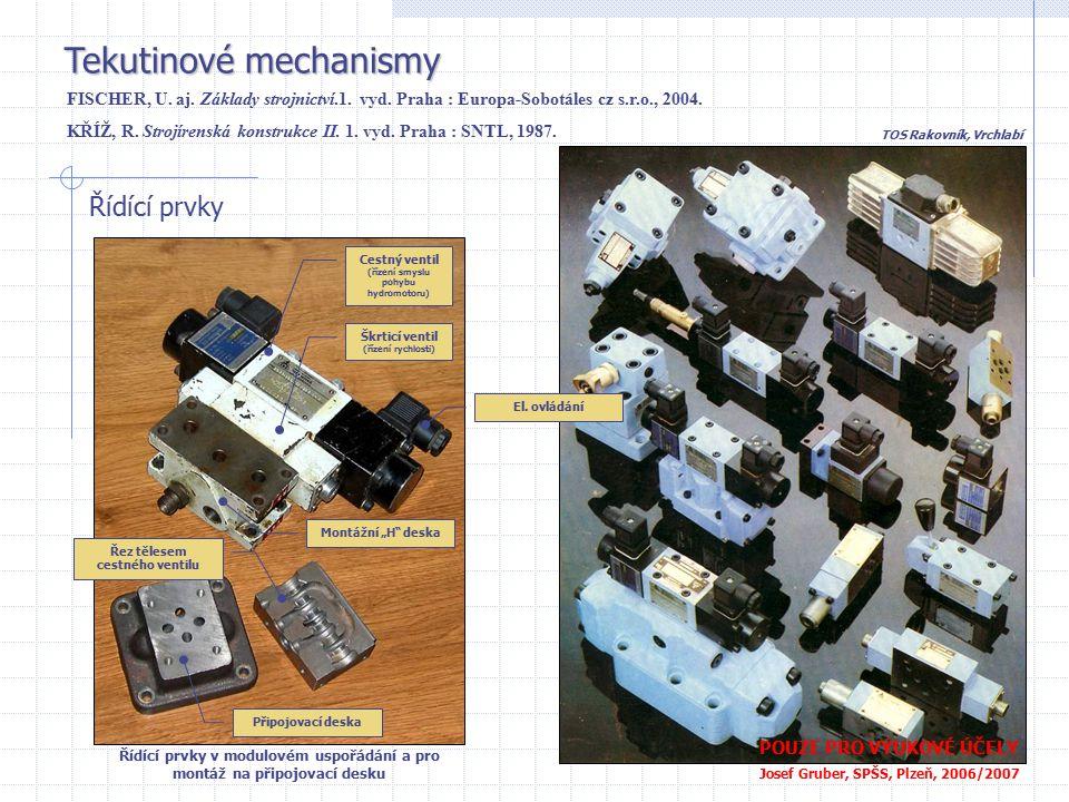 Tekutinové mechanismy POUZE PRO VÝUKOVÉ ÚČELY Josef Gruber, SPŠS, Plzeň, 2006/2007 Řídící prvky Řídící prvky v modulovém uspořádání a pro montáž na př