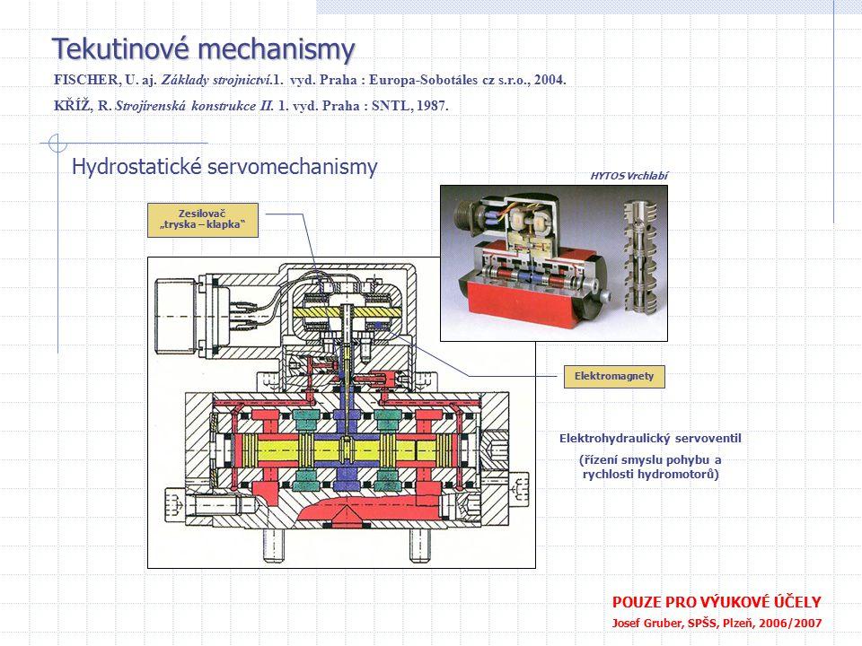 Tekutinové mechanismy POUZE PRO VÝUKOVÉ ÚČELY Josef Gruber, SPŠS, Plzeň, 2006/2007 Hydrostatické servomechanismy Elektrohydraulický servoventil (řízen