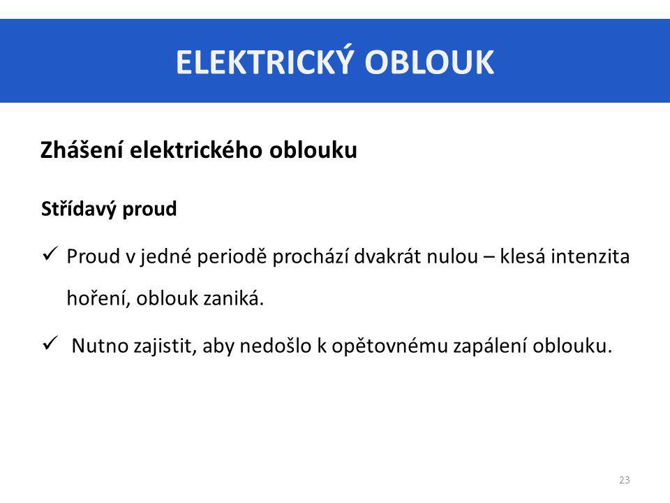 ELEKTRICKÝ OBLOUK 23 Zhášení elektrického oblouku Střídavý proud Proud v jedné periodě prochází dvakrát nulou – klesá intenzita hoření, oblouk zaniká.