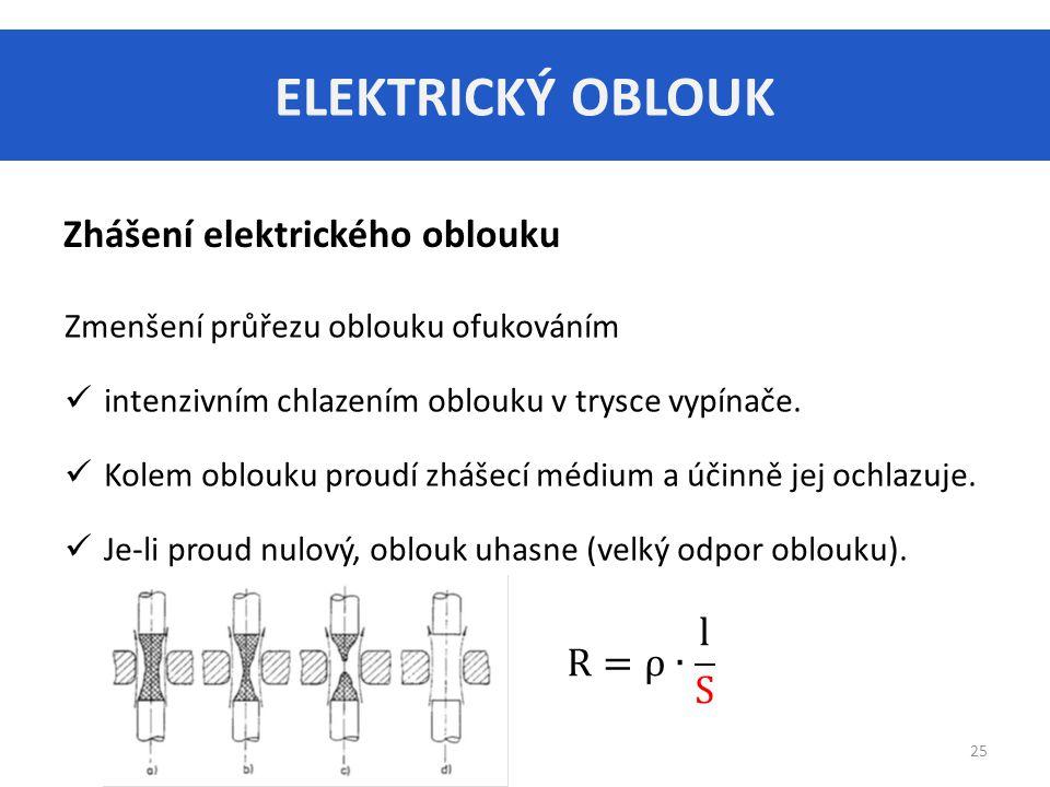 ELEKTRICKÝ OBLOUK 25 Zhášení elektrického oblouku Zmenšení průřezu oblouku ofukováním intenzivním chlazením oblouku v trysce vypínače.