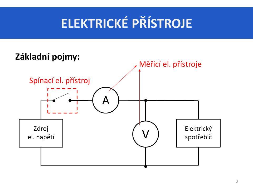 ELEKTRICKÉ PŘÍSTROJE 3 Základní pojmy: Zdroj el.napětí Elektrický spotřebič A V Měřicí el.