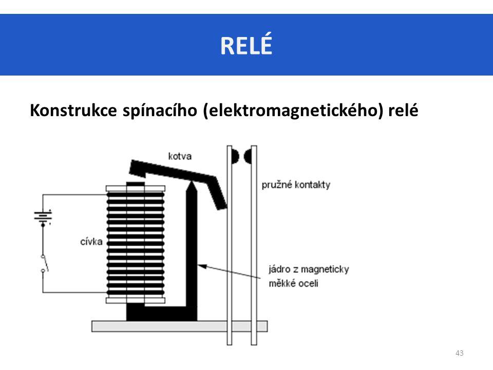 RELÉ 43 Konstrukce spínacího (elektromagnetického) relé