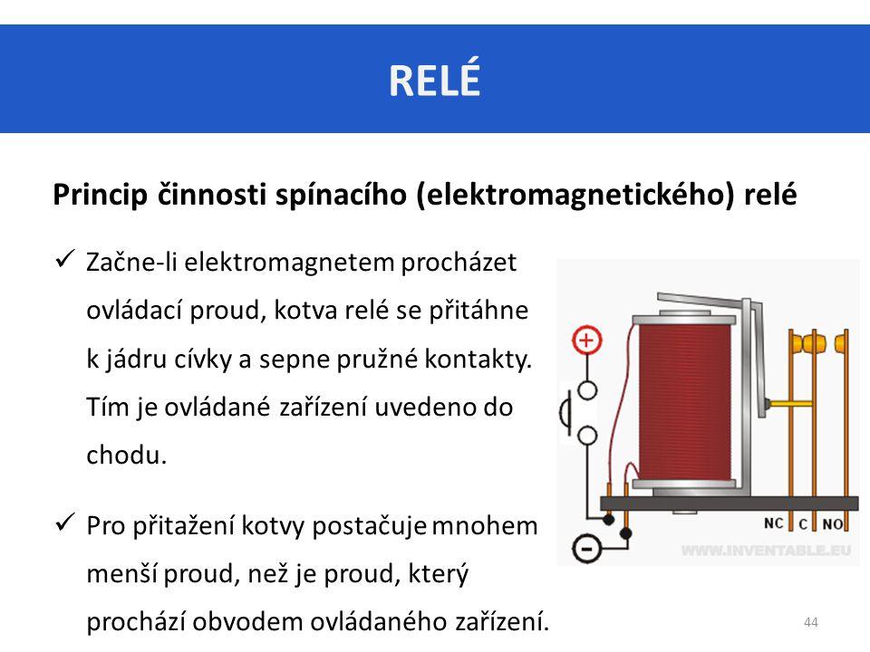 RELÉ 44 Princip činnosti spínacího (elektromagnetického) relé Začne-li elektromagnetem procházet ovládací proud, kotva relé se přitáhne k jádru cívky a sepne pružné kontakty.