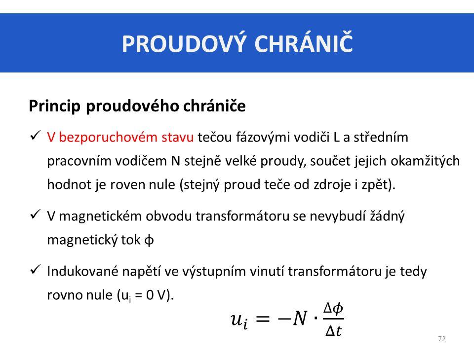 PROUDOVÝ CHRÁNIČ 72 Princip proudového chrániče V bezporuchovém stavu tečou fázovými vodiči L a středním pracovním vodičem N stejně velké proudy, součet jejich okamžitých hodnot je roven nule (stejný proud teče od zdroje i zpět).