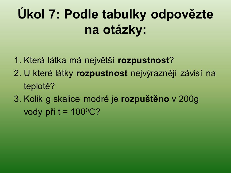 Úkol 7: Podle tabulky odpovězte na otázky: 1. Která látka má největší rozpustnost? 2. U které látky rozpustnost nejvýrazněji závisí na teplotě? 3. Kol