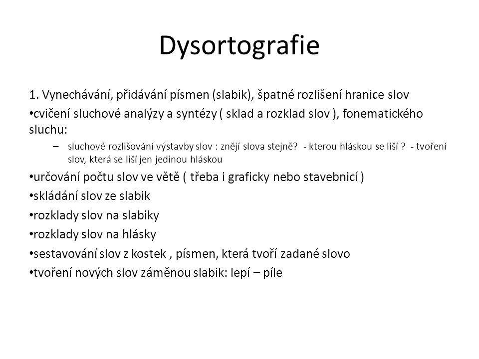 Dysortografie 1. Vynechávání, přidávání písmen (slabik), špatné rozlišení hranice slov cvičení sluchové analýzy a syntézy ( sklad a rozklad slov ), fo
