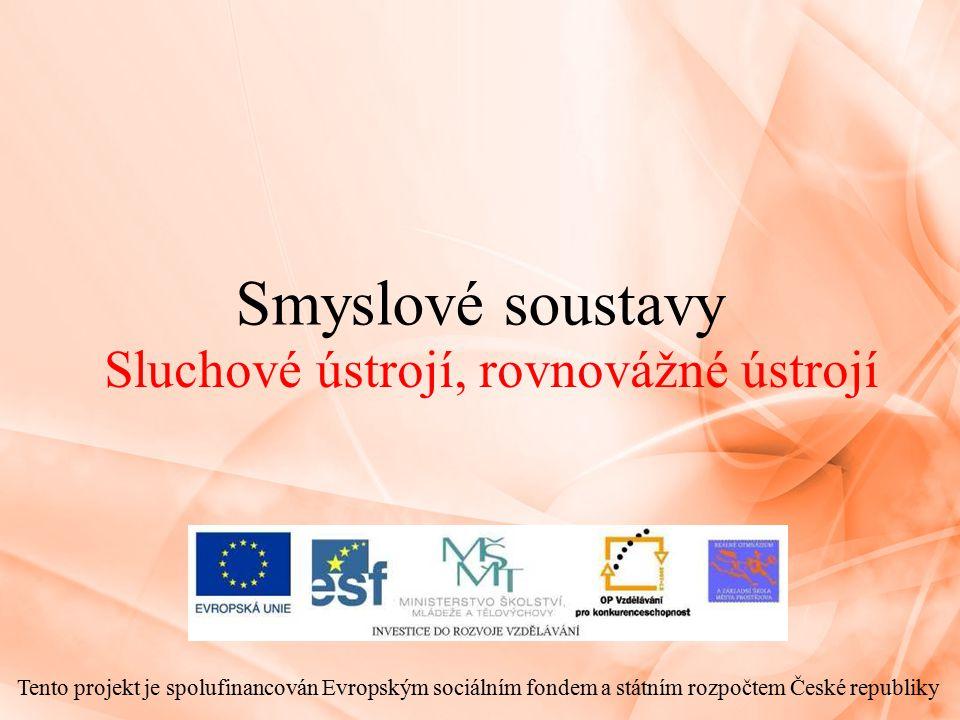 Smyslové soustavy Sluchové ústrojí, rovnovážné ústrojí Tento projekt je spolufinancován Evropským sociálním fondem a státním rozpočtem České republiky