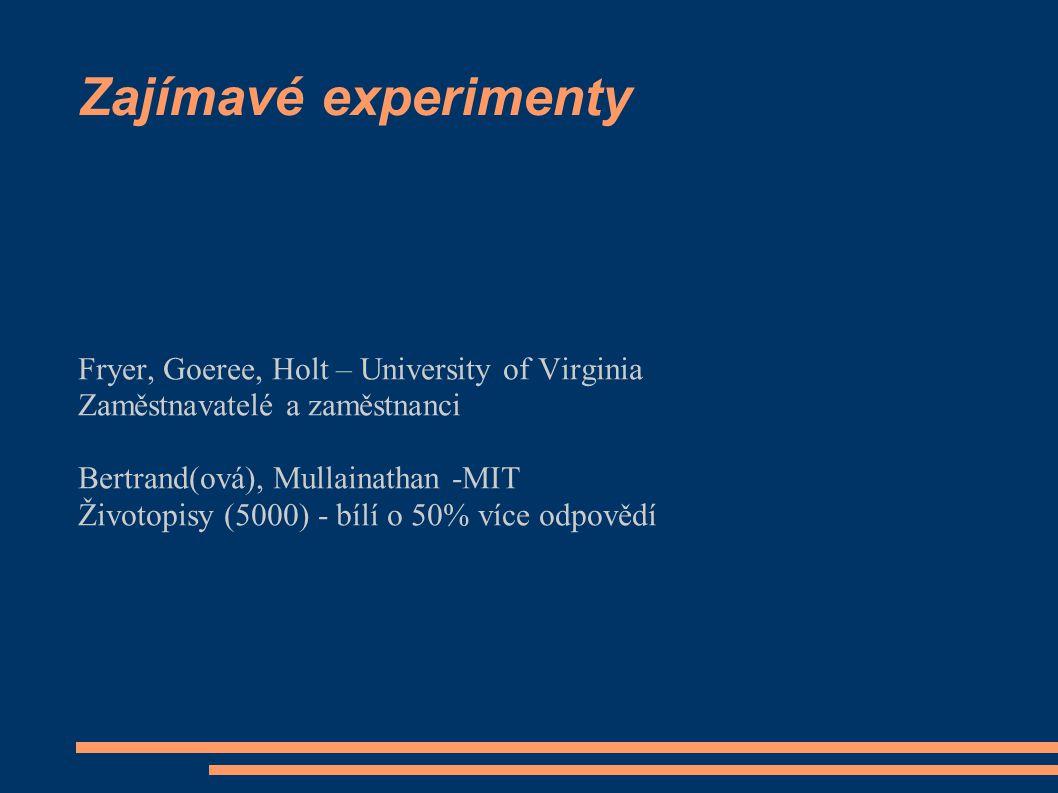 Zajímavé experimenty Fryer, Goeree, Holt – University of Virginia Zaměstnavatelé a zaměstnanci Bertrand(ová), Mullainathan -MIT Životopisy (5000) - bílí o 50% více odpovědí