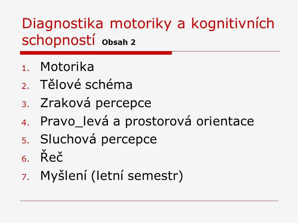 Diagnostika motoriky a kognitivních schopností Obsah 2 1. Motorika 2. Tělové schéma 3. Zraková percepce 4. Pravo_levá a prostorová orientace 5. Slucho