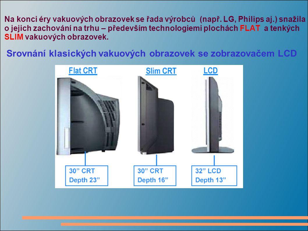 Na konci éry vakuových obrazovek se řada výrobců (např. LG, Philips aj.) snažila o jejich zachování na trhu – především technologiemi plochách FLAT a