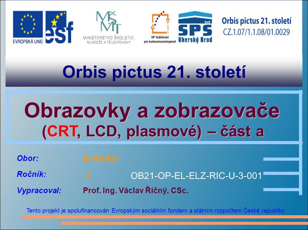 Orbis pictus 21. století Tento projekt je spolufinancován Evropským sociálním fondem a státním rozpočtem České republiky Obrazovky a zobrazovače Obraz
