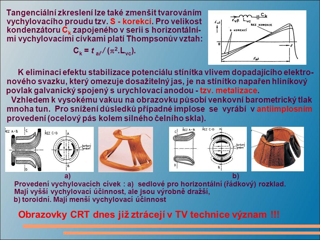 Tangenciální zkreslení lze také zmenšit tvarováním vychylovacího proudu tzv. S - korekcí. Pro velikost kondenzátoru C k zapojeného v serii s horizontá