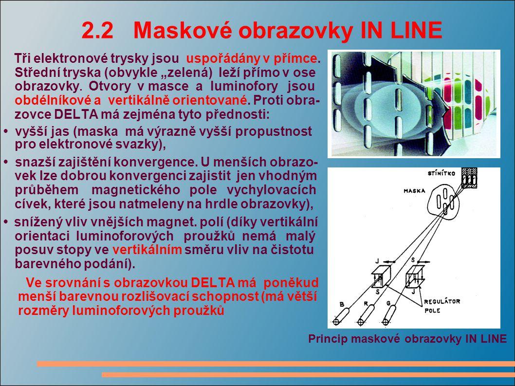 """2.2 Maskové obrazovky IN LINE Tři elektronové trysky jsou uspořádány v přímce. Střední tryska (obvykle """"zelená) leží přímo v ose obrazovky. Otvory v m"""