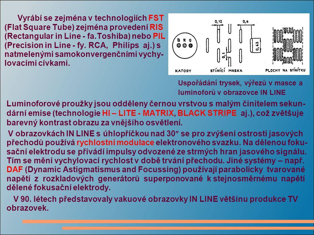 Vyrábí se zejména v technologiích FST (Flat Square Tube) zejména provedení RIS (Rectangular in Line - fa.Toshiba) nebo PIL (Precision in Line - fy. RC