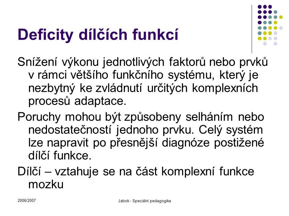2006/2007 Jabok - Speciální pedagogika Deficity dílčích funkcí Snížení výkonu jednotlivých faktorů nebo prvků v rámci většího funkčního systému, který