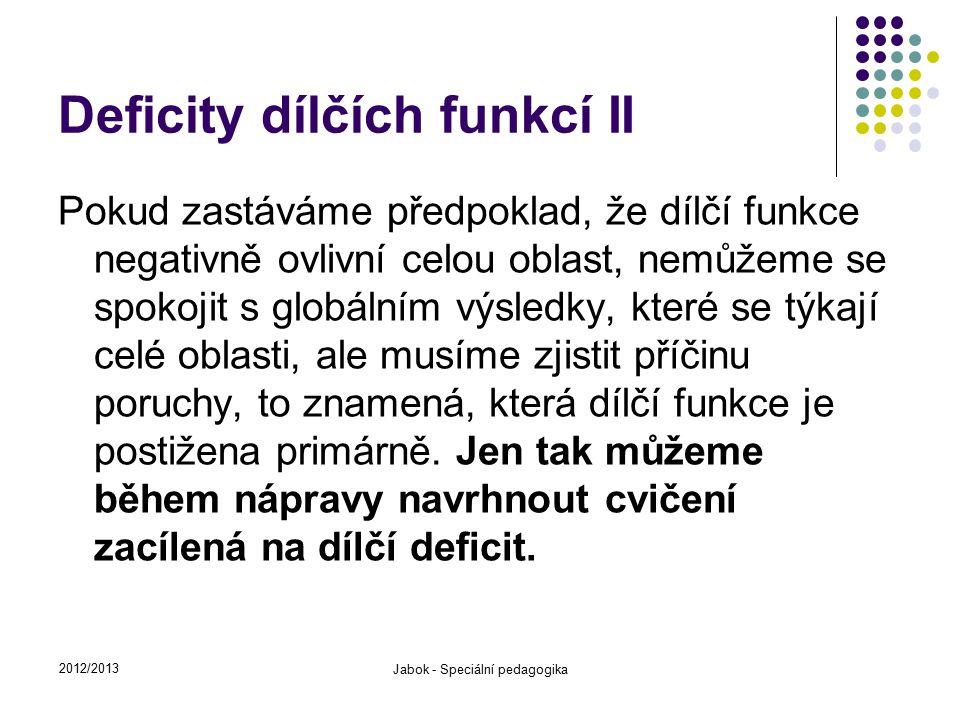 Deficity dílčích funkcí II Pokud zastáváme předpoklad, že dílčí funkce negativně ovlivní celou oblast, nemůžeme se spokojit s globálním výsledky, kter
