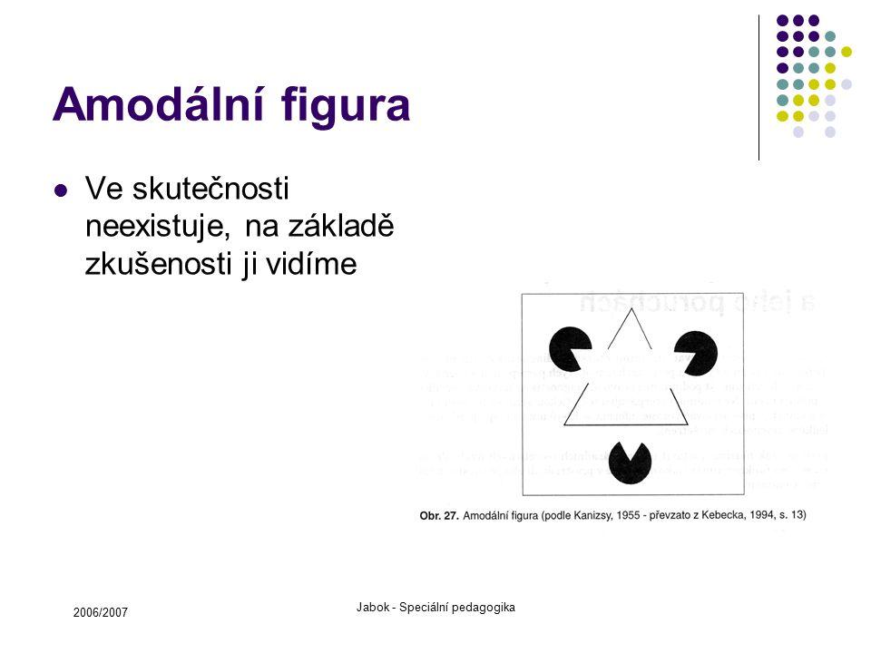 2006/2007 Jabok - Speciální pedagogika Amodální figura Ve skutečnosti neexistuje, na základě zkušenosti ji vidíme