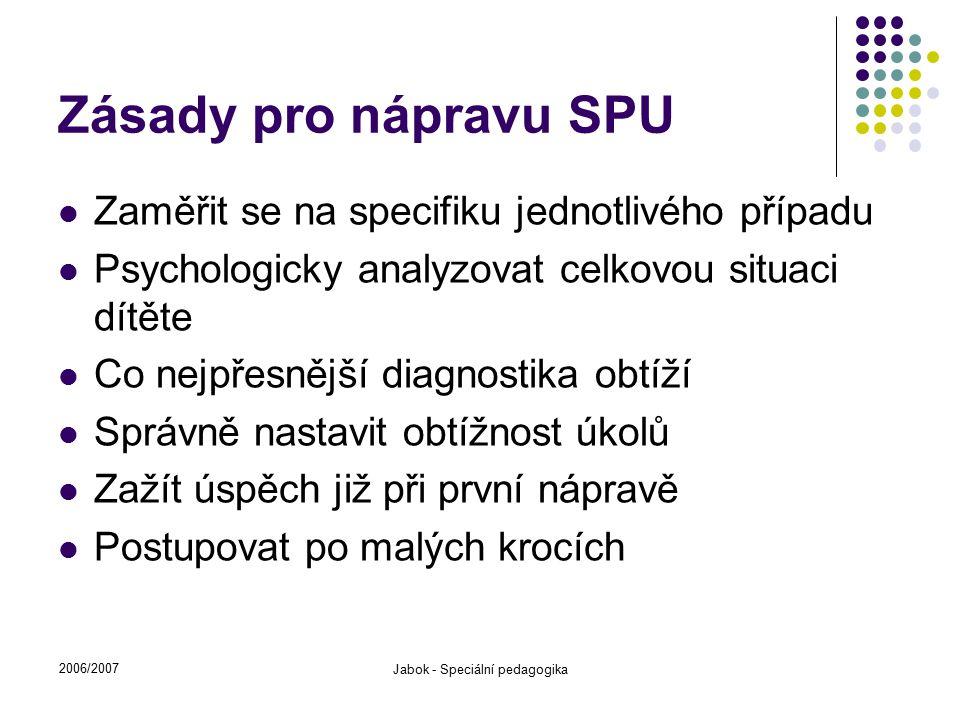 2006/2007 Jabok - Speciální pedagogika Zásady pro nápravu SPU Zaměřit se na specifiku jednotlivého případu Psychologicky analyzovat celkovou situaci d