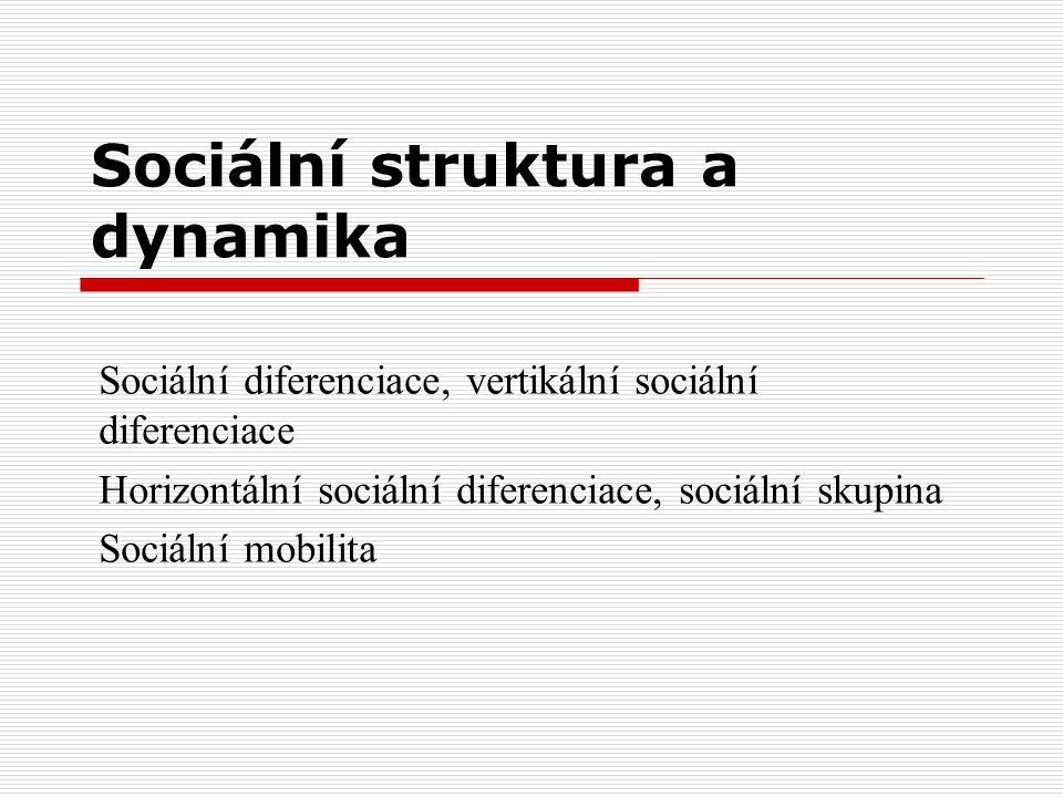 Sociální struktura a dynamika Sociální diferenciace, vertikální sociální diferenciace Horizontální sociální diferenciace, sociální skupina Sociální mo