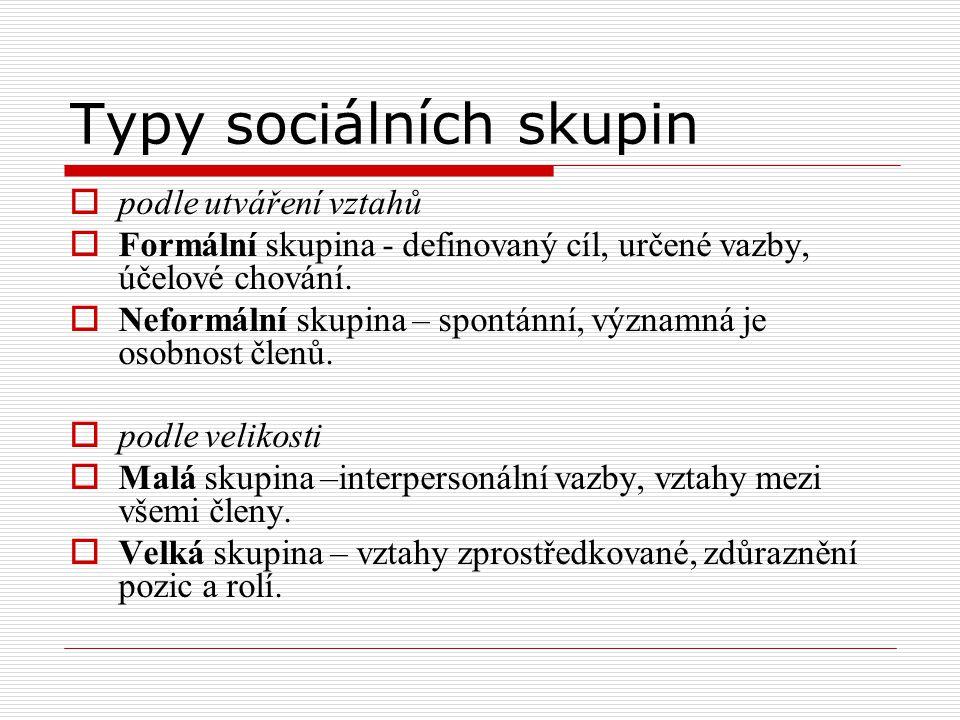 Typy sociálních skupin  podle utváření vztahů  Formální skupina - definovaný cíl, určené vazby, účelové chování.  Neformální skupina – spontánní, v