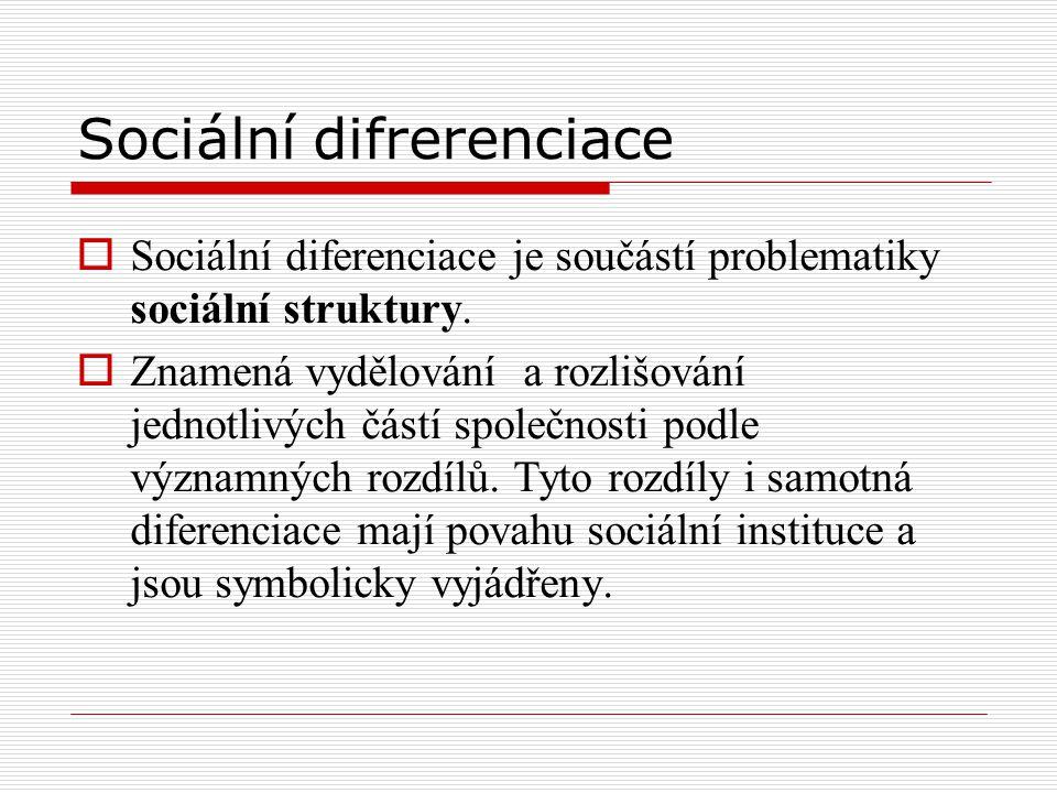 Sociální difrerenciace  Sociální diferenciace je součástí problematiky sociální struktury.  Znamená vydělování a rozlišování jednotlivých částí spol
