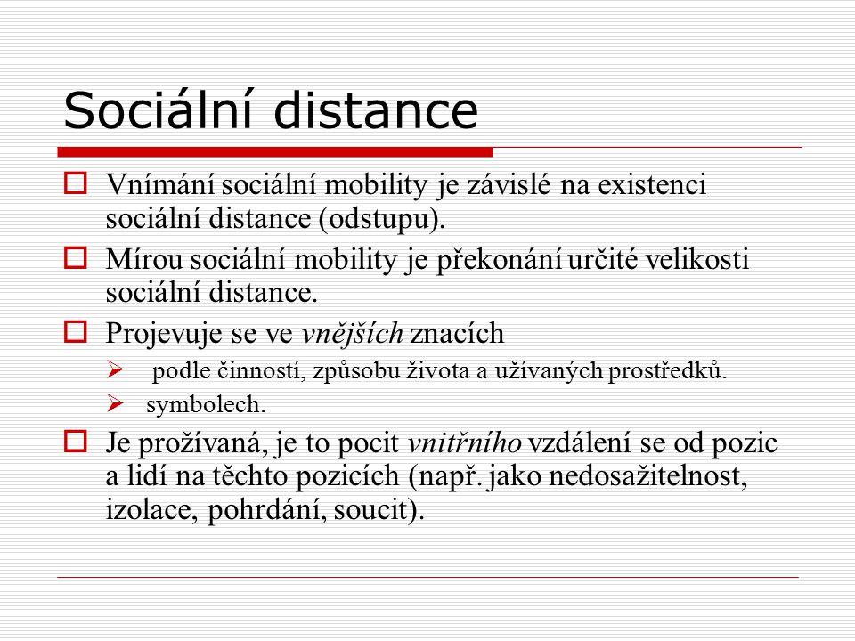 Sociální distance  Vnímání sociální mobility je závislé na existenci sociální distance (odstupu).  Mírou sociální mobility je překonání určité velik