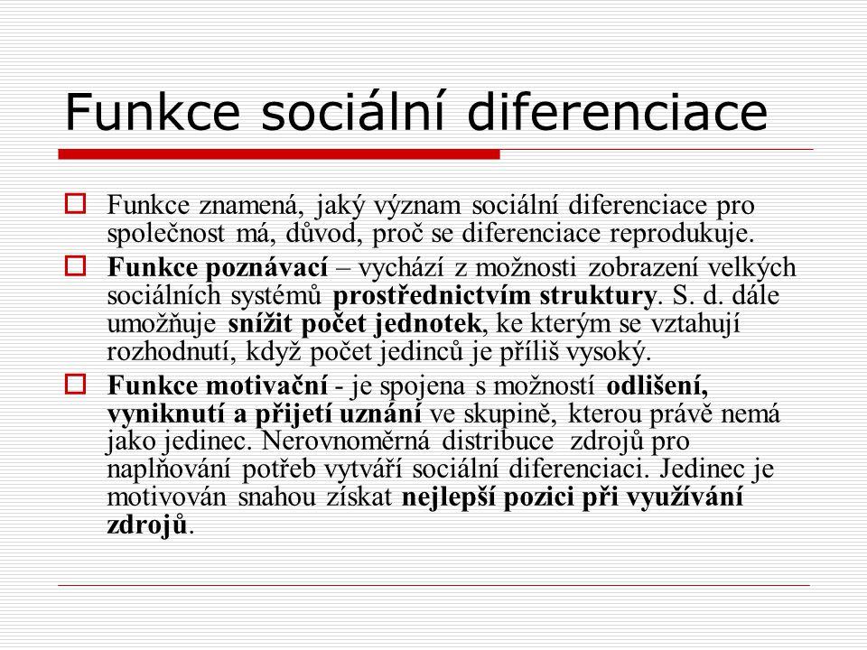 Funkce sociální diferenciace  Funkce znamená, jaký význam sociální diferenciace pro společnost má, důvod, proč se diferenciace reprodukuje.  Funkce