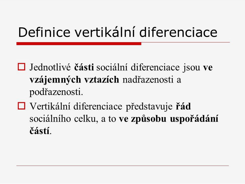 Definice vertikální diferenciace  Jednotlivé části sociální diferenciace jsou ve vzájemných vztazích nadřazenosti a podřazenosti.  Vertikální difere