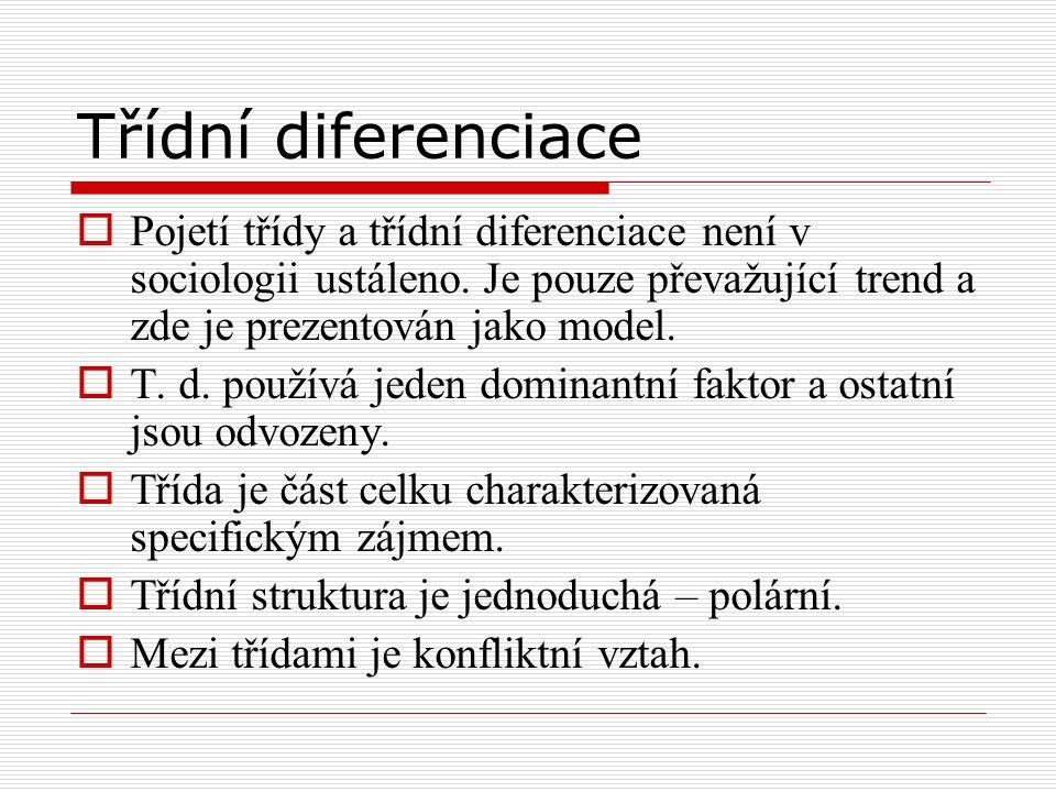 Třídní diferenciace  Pojetí třídy a třídní diferenciace není v sociologii ustáleno. Je pouze převažující trend a zde je prezentován jako model.  T.