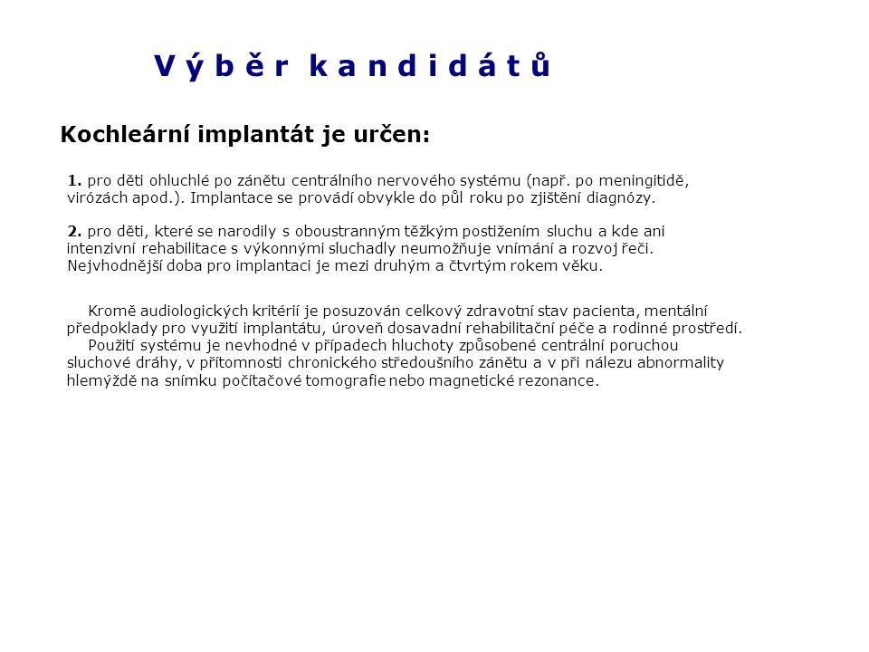 V ý b ě r k a n d i d á t ů Kochleární implantát je určen: 1.