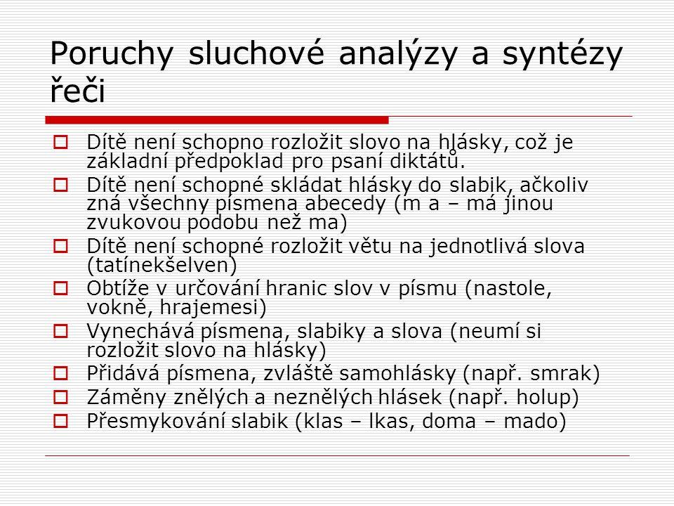 Poruchy sluchové analýzy a syntézy řeči  Dítě není schopno rozložit slovo na hlásky, což je základní předpoklad pro psaní diktátů.  Dítě není schopn