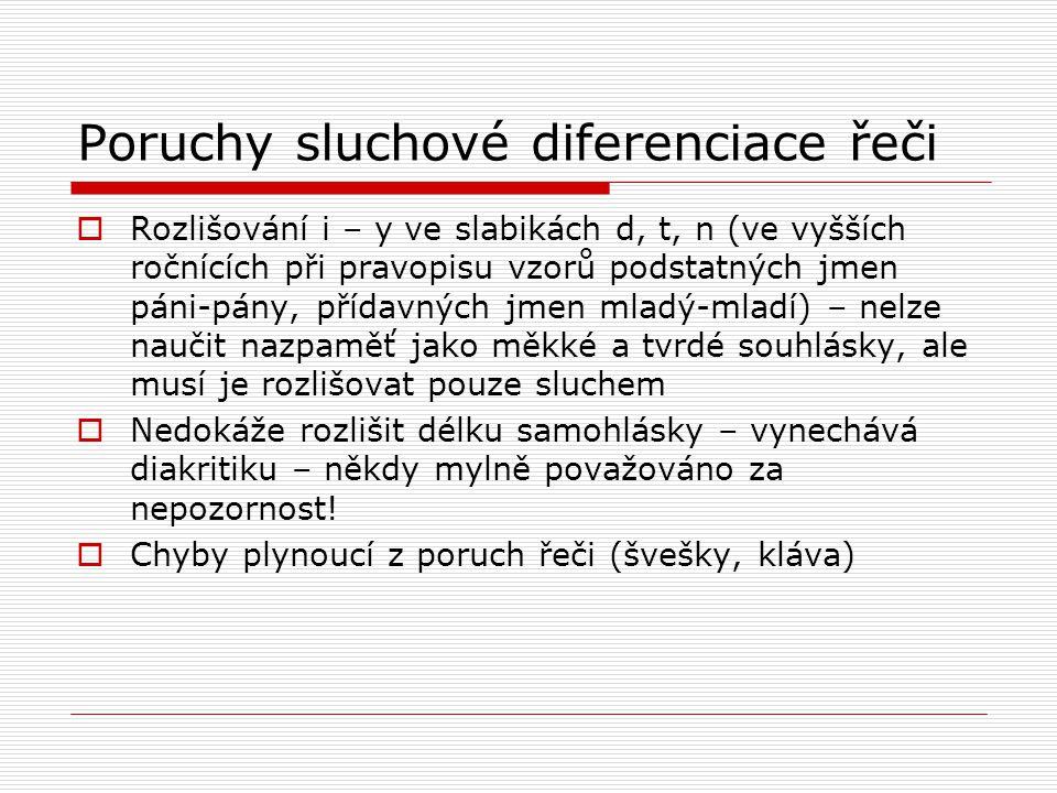 Poruchy sluchové diferenciace řeči  Rozlišování i – y ve slabikách d, t, n (ve vyšších ročnících při pravopisu vzorů podstatných jmen páni-pány, příd