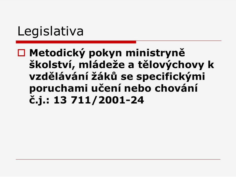 Legislativa  Metodický pokyn ministryně školství, mládeže a tělovýchovy k vzdělávání žáků se specifickými poruchami učení nebo chování č.j.: 13 711/2