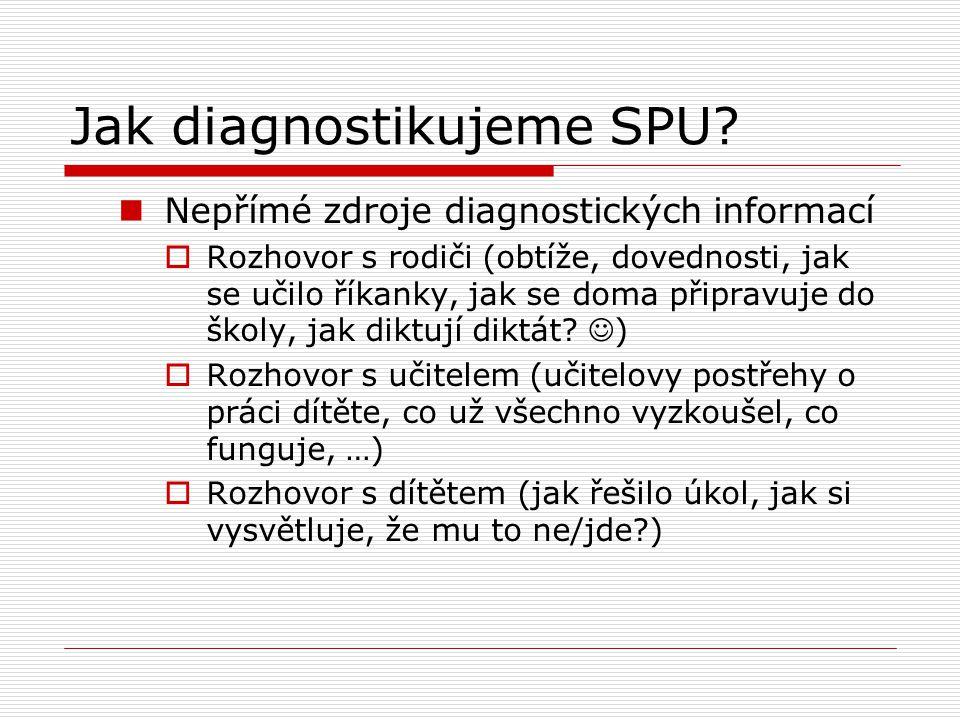 Jak diagnostikujeme SPU? Nepřímé zdroje diagnostických informací  Rozhovor s rodiči (obtíže, dovednosti, jak se učilo říkanky, jak se doma připravuje