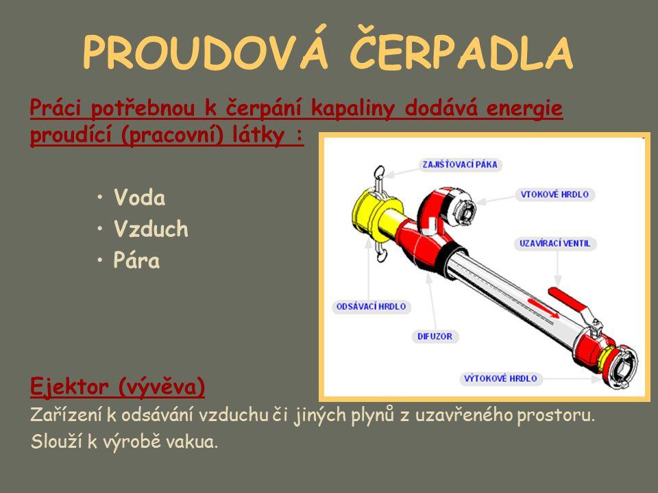 PROUDOVÁ ČERPADLA Mamutová čerpadla Čerpadla bez pohyblivých strojních částí (mechanismů).