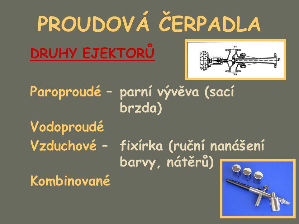 PROUDOVÁ ČERPADLA Ejektor