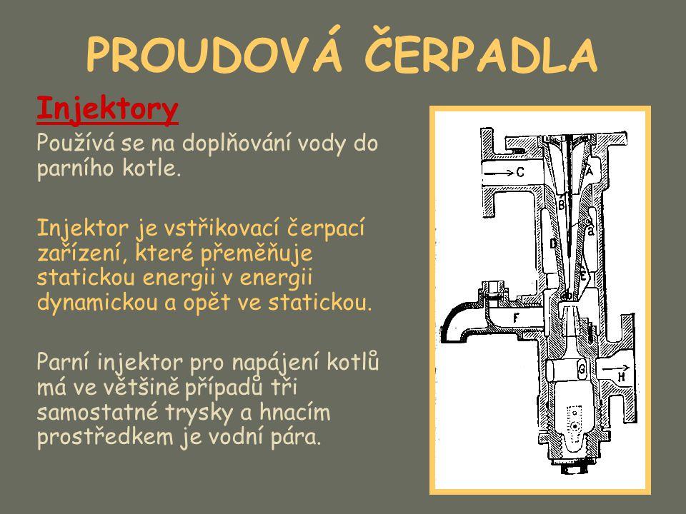 PROUDOVÁ ČERPADLA V injektoru nastává podtlak, čímž se nasává voda jako dopravovaná kapalina z níže položené nádrže.