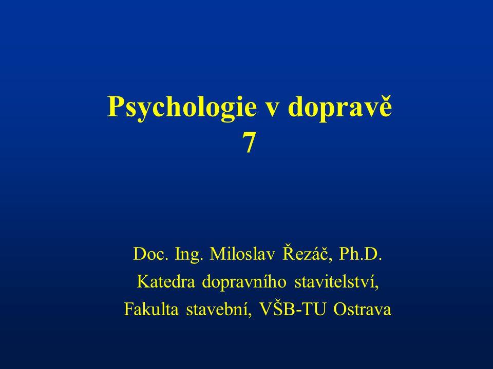 Psychologie v dopravě 7 Doc. Ing. Miloslav Řezáč, Ph.D.