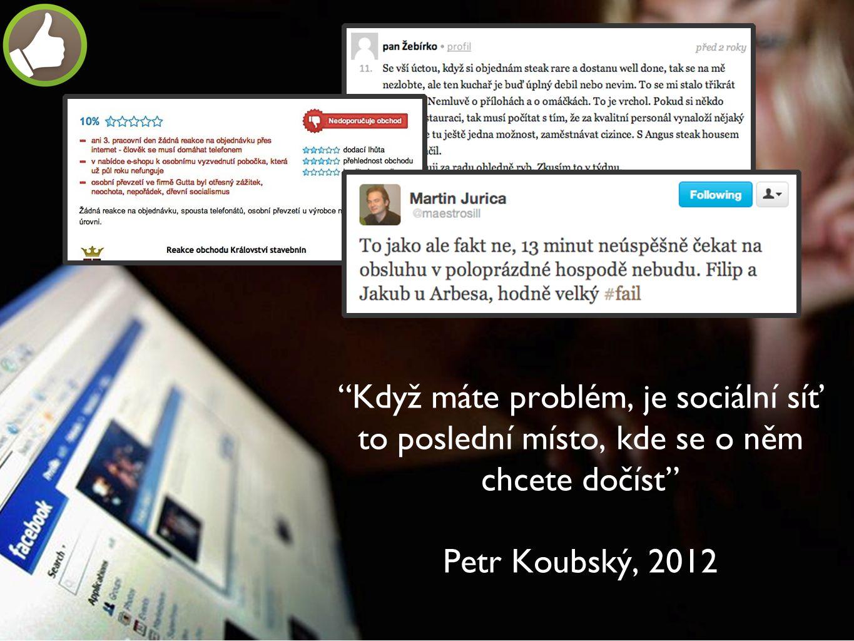 """""""Když máte problém, je sociální síť to poslední místo, kde se o něm chcete dočíst"""" Petr Koubský, 2012"""