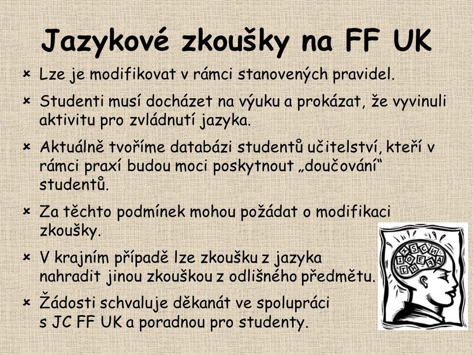 Jazykové zkoušky na FF UK  Lze je modifikovat v rámci stanovených pravidel.