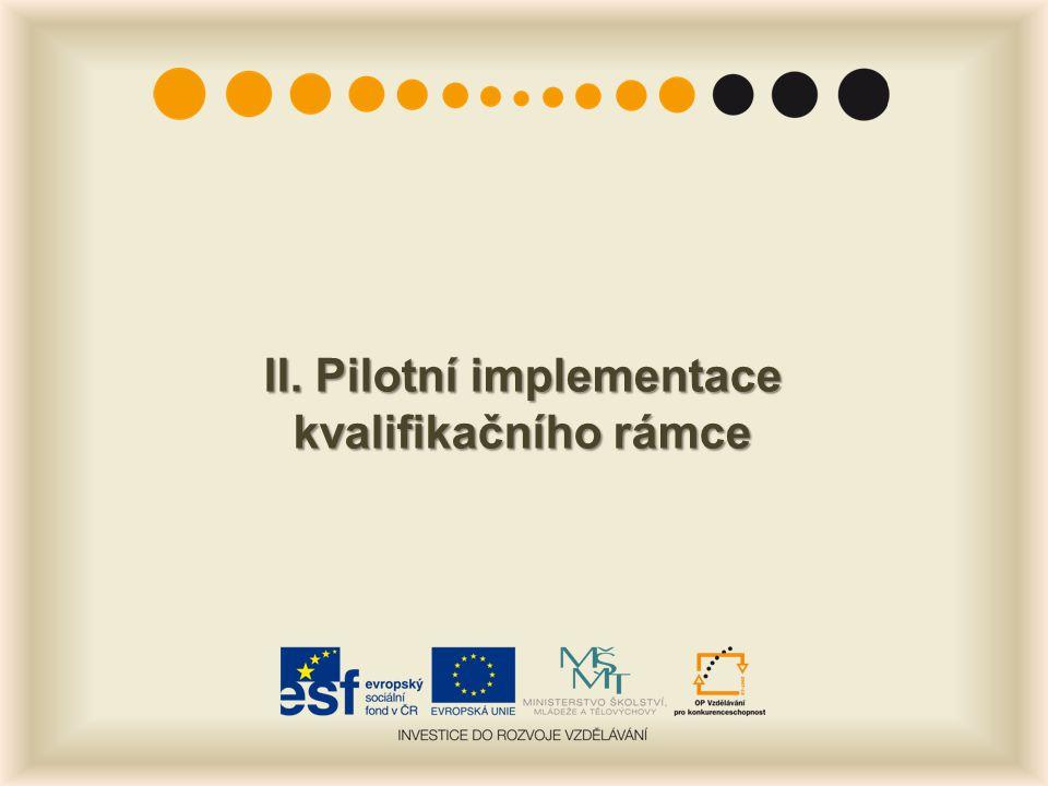 II. Pilotní implementace kvalifikačního rámce