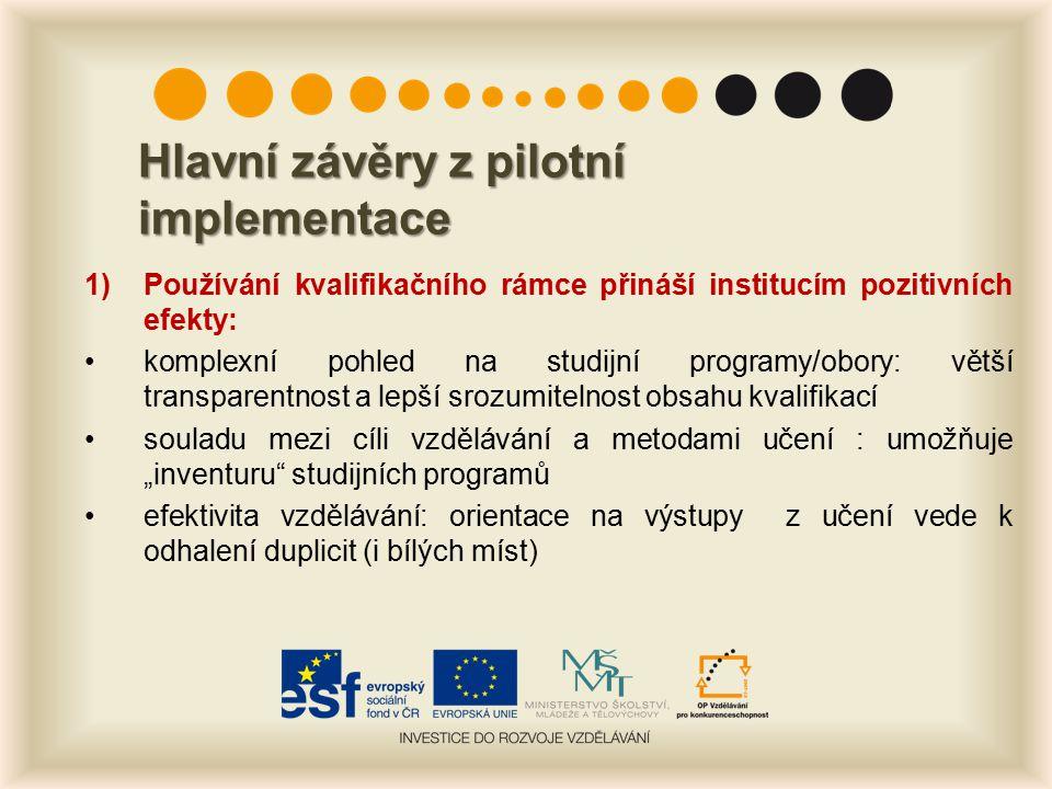 Hlavní závěry z pilotní implementace 1)Používání kvalifikačního rámce přináší institucím pozitivních efekty: komplexní pohled na studijní programy/obo