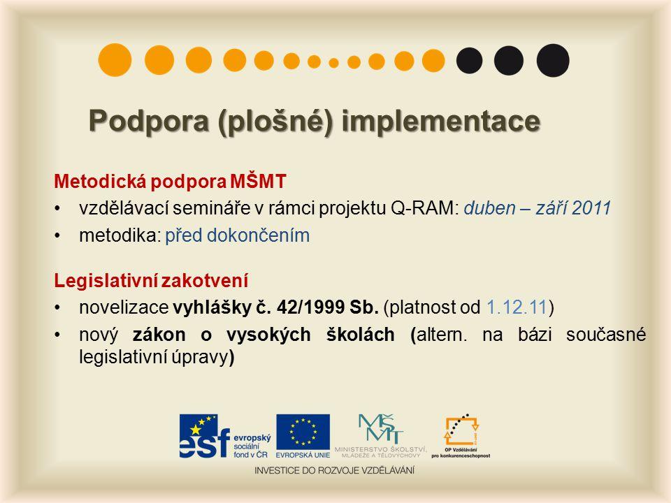 Podpora (plošné) implementace Metodická podpora MŠMT vzdělávací semináře v rámci projektu Q-RAM: duben – září 2011 metodika: před dokončením Legislativní zakotvení novelizace vyhlášky č.