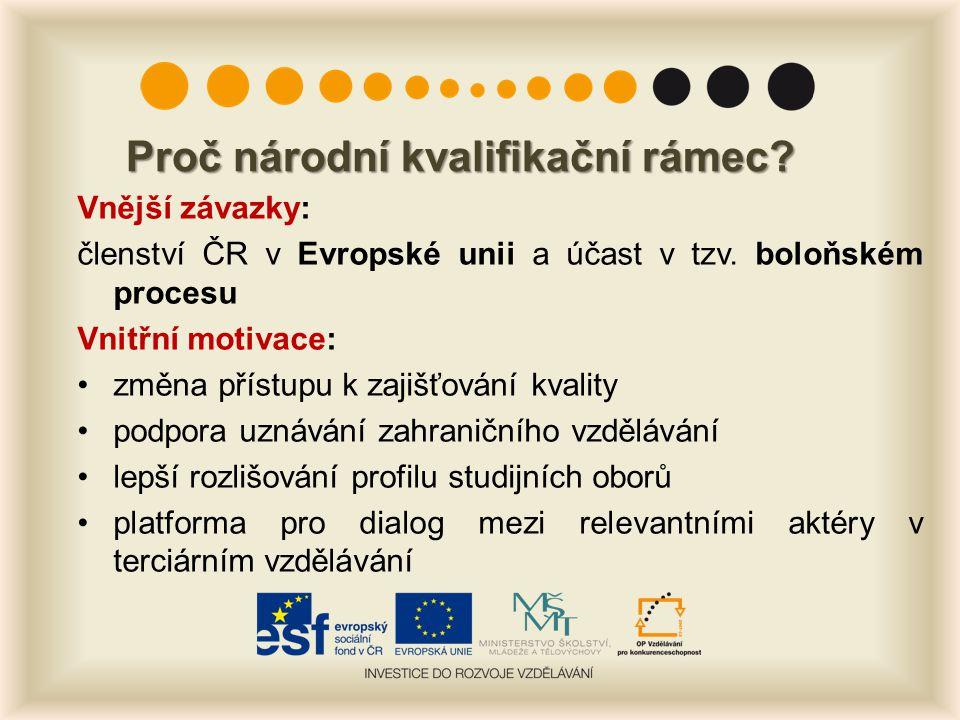 Proč národní kvalifikační rámec? Vnější závazky: členství ČR v Evropské unii a účast v tzv. boloňském procesu Vnitřní motivace: změna přístupu k zajiš