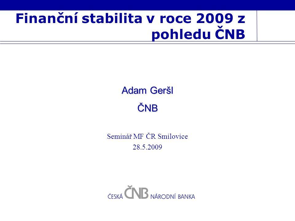 Finanční stabilita v roce 2009 z pohledu ČNB Seminář MF ČR Smilovice 28.5.2009 Adam Geršl ČNB