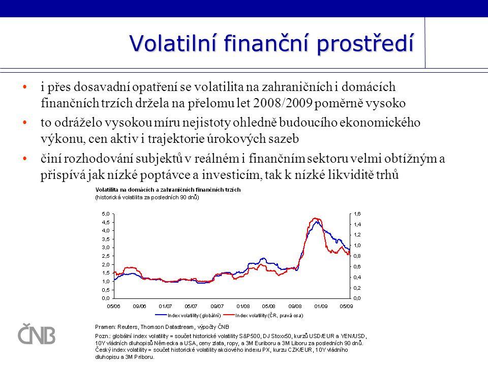 Volatilní finanční prostředí i přes dosavadní opatření se volatilita na zahraničních i domácích finančních trzích držela na přelomu let 2008/2009 poměrně vysoko to odráželo vysokou míru nejistoty ohledně budoucího ekonomického výkonu, cen aktiv i trajektorie úrokových sazeb činí rozhodování subjektů v reálném i finančním sektoru velmi obtížným a přispívá jak nízké poptávce a investicím, tak k nízké likviditě trhů