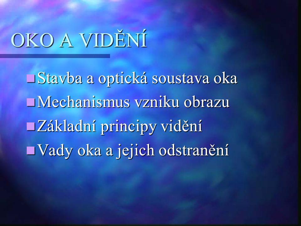 OKO A VIDĚNÍ Stavba a optická soustava oka Stavba a optická soustava oka Mechanismus vzniku obrazu Mechanismus vzniku obrazu Základní principy vidění