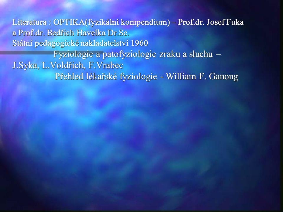 Literatura : OPTIKA(fyzikální kompendium) – Prof.dr. Josef Fuka a Prof.dr. Bedřich Havelka Dr.Sc. Státní pedagogické nakladatelství 1960 Fyziologie a