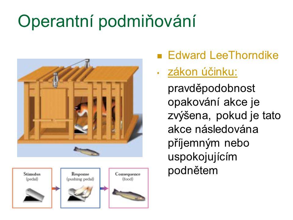 Edward LeeThorndike zákon účinku: pravděpodobnost opakování akce je zvýšena, pokud je tato akce následována příjemným nebo uspokojujícím podnětem Oper